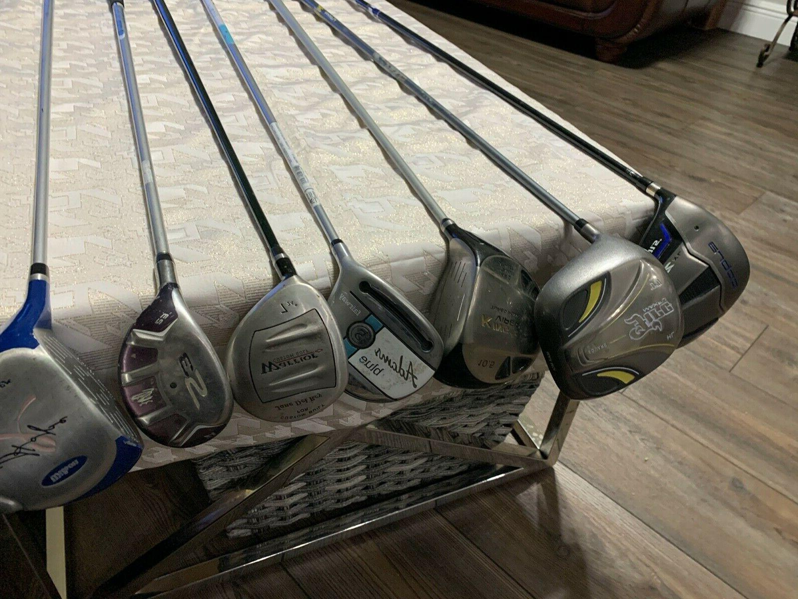 assorted golf clubs driver hybrids wedges lot